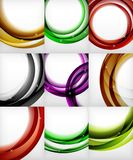 Set of glossy glass waves, vector abstract backgrounds, shiny light effects templates for web banner, business or. Technology presentation background or Stock Photography