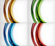Set of glossy glass waves, vector abstract backgrounds, shiny light effects templates for web banner, business or. Technology presentation background or Royalty Free Stock Photography