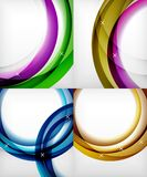 Set of glossy glass waves, vector abstract backgrounds, shiny light effects templates for web banner, business or. Technology presentation background or Royalty Free Stock Image