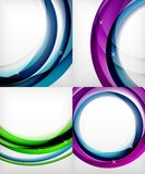 Set of glossy glass waves, vector abstract backgrounds, shiny light effects templates for web banner, business or. Technology presentation background or Stock Images