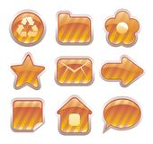 Set of glossy golden icons. For web design Stock Photography