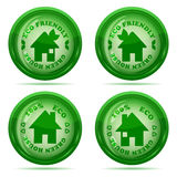 set of glossy green house icons isolate Royalty Free Stock Photos