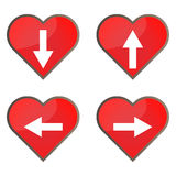 Set of glossy heart button icons for your design.  Stock Photography