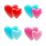 Set of glossy heart icons isolated on white Stock Photo