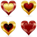 Set of a glossy hearts Royalty Free Stock Images