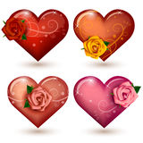 Set of glossy hearts with roses Stock Photo