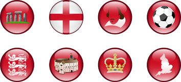 A Set of Glossy Icons of England. royalty free stock photography