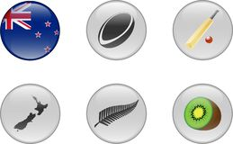 A Set of Glossy Icons of New Zealand. stock images