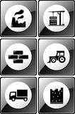 Set of glossy industrial icons Royalty Free Stock Image