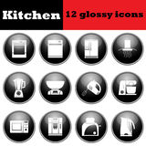 Set of glossy kitchen equipment glossy icons Stock Images