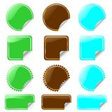 Set of glossy labels in various shapes Stock Images