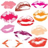 Set of glossy lips in tender kiss. Stock Photo