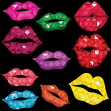 Set of glossy lips in tender kiss. Royalty Free Stock Images