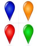 Glossy Map Tick Markers Royalty Free Stock Images