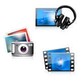 Set of glossy media icons. Photo/music/video stock illustration