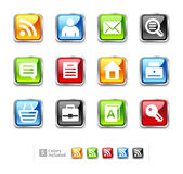 Set glossy metallic icons - web site Stock Photography