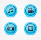 Set of glossy multimedia icons Stock Image