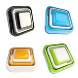 Set of glossy plastic buttons isolated Stock Images