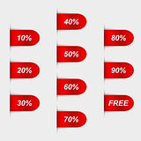 Set of glossy red sales labels Royalty Free Stock Photography