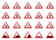 Set of glossy road signs Stock Photos
