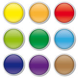 Set of glossy round web buttons with chrome border,  Stock Photography