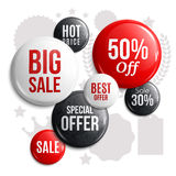 Set of glossy sale buttons or badges. Product promotions. Big sale, special offer Royalty Free Stock Image