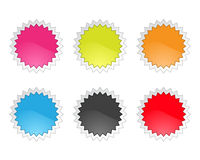 Set of glossy sale tag stickers on white backgroun Stock Image