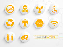 Set of glossy signs and symbols. royalty free illustration