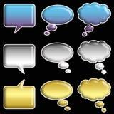 Set of Glossy Speech Bubbles Stock Photos