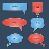 Set of glossy speech bubbles. Chat, web icons. Vector illustration Stock Photos