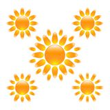 Set of glossy sun icons Stock Photo
