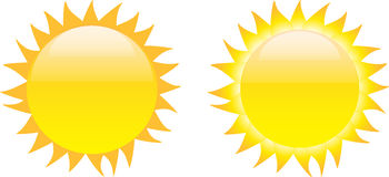 Set of glossy sun images. Isolated on white background. Vector illustration royalty free illustration