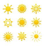 Set of glossy sun images Royalty Free Stock Images