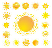 Set of glossy sun images Royalty Free Stock Photos