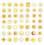 Set of glossy sun images Royalty Free Stock Photo
