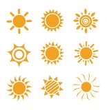Set of glossy sun images Stock Photos