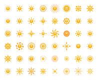 Set of glossy sun images for your design Royalty Free Stock Photo