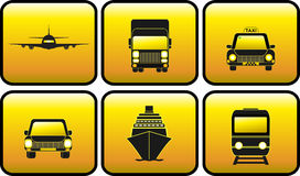Set glossy transport icon Stock Image