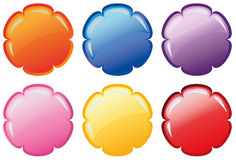 Set of glossy vector flowers. Set of buttons in flower shape and six colours Royalty Free Stock Photography