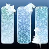 Set of glossy vertical banners with icicles stock illustration