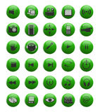 Green web and multimedia icons. Set of glossy web and multimedia icons Stock Images