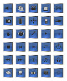 Blue square  web and multimedia icons Stock Images