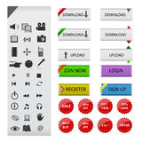 Web and multimedia icons and buttons. Set of glossy web and multimedia icons and buttons Royalty Free Stock Photo