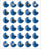 Blue sticker  web and multimedia icons Royalty Free Stock Photos
