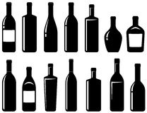 Set of glossy wine bottles Royalty Free Stock Photography