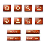 Set of glossy wooden web icons and menu buttons. With shadow and reflection. Isolated on white Stock Image