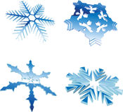 Set Of Glow Blue 3D Snowflakes. Set Of Glow Blue Winter 3D Snowflakes Royalty Free Stock Photo