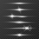 Set of glow light effect stars bursts with sparkles  on black transparent background template Royalty Free Stock Image