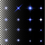 Set of glow light effect stars bursts with sparkles Stock Images