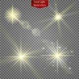 Set of glow light effect stars bursts with sparkles isolated on transparent background. For illustration template art. Design, banner for Christmas celebrate Stock Image
